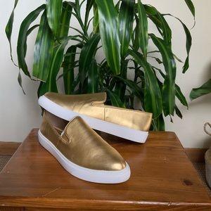 Franco Sarto gold metallic slip-on mony sneaker